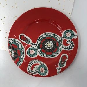 Anthropologie Red Teal Flower Decorative Plate